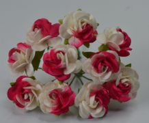 FUSCHIA PINK WHITE ROSES (1.2cm) Mulberry Paper Roses